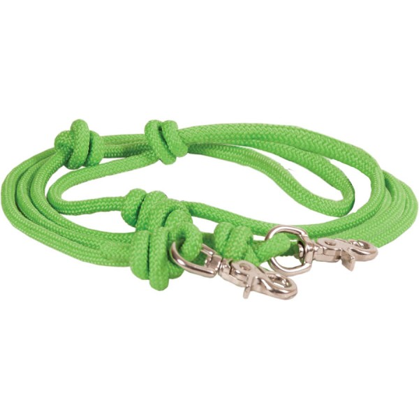 """5/16"""" x 8' Mountain Rope Knotted Barrel Rein w/N.P. Scissor Snaps"""